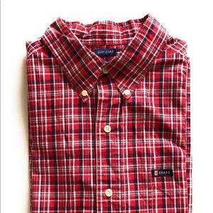Chaps Red Blue White Plaid check Sz L Short sleeve